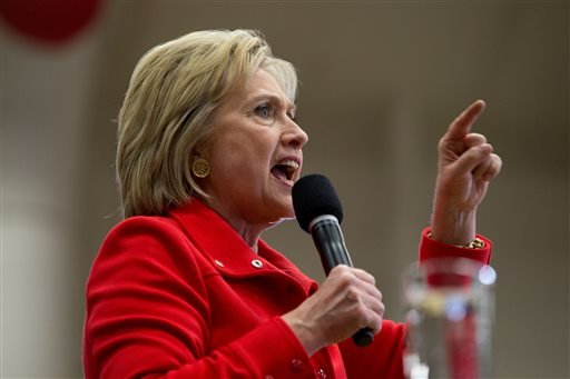 Democratic presidential candidate Hillary Clinton speaks at a rally at Washington High School in Cedar Rapids, Iowa, Saturday, Jan. 30, 2016. (AP Photo/Andrew Harnik)