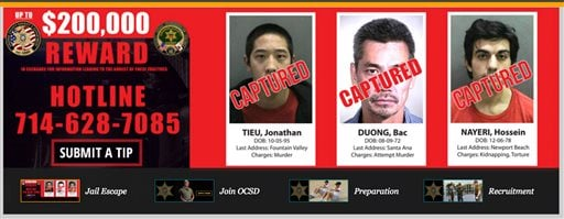 """This banner atop the Orange County Sheriff's Department webpage shows the latest iteration of their Internet """"wanted"""" poster, showing that all three escaped inmates are in custody as of Saturday, Jan. 30, 2016. After a week of SWAT raids and a gang dragne"""