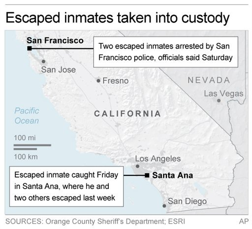 UPDATES with latest developments; Map locates areas in California where escaped inmates were captured; 2c x 3 inches; 96.3 mm x 76 mm;