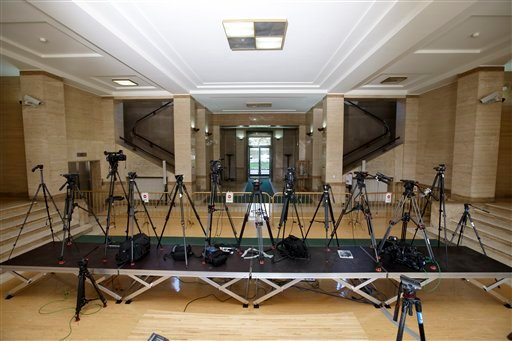 Tripods of TV reporters are set up at the UN building after Syria talks were rescheduled at the European headquarters of the United Nations in Geneva, Switzerland, Monday, Feb. 1, 2016. A spokeswoman for U.N. envoy Staffan de Mistura says indirect talks b