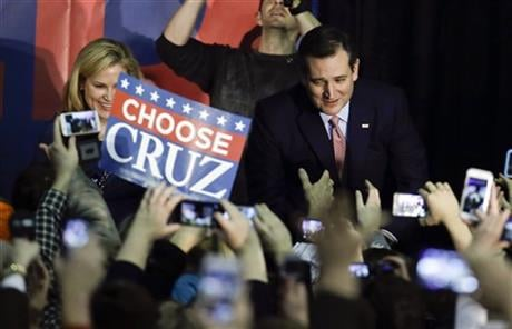 Cruz sealed a victory in the Republican Iowa caucuses, winning on the strength of his relentless campaigning and support from his party's diehard conservatives. (AP Photo/Chris Carlson)