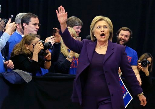 Democratic presidential candidate Hillary Clinton waves as she arrives at a campaign event, Tuesday, Feb. 2, 2016, in Nashua, N.H. (AP Photo/Elise Amendola)