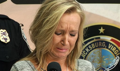 """Tammy Weeks cries as she speaks to reporters in Blacksburg, Va., on Tuesday, Feb. 2, 2016. Weeks says her 13-year-old daughter, Nicole Lovell, fought health problems all her life and had dreams of singing on """"American Idol."""" (AP Photo/Allen G. Breed)"""