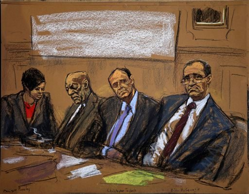 In this courtroom sketch, attorneys Monique Pressley, left, Brian McMonagle, right, and Christopher Taybeck, second right, listen along with their client Bill Cosby, during Cosby's court appearance Tuesday, Feb. 2, 2016, in Norristown, Pa.
