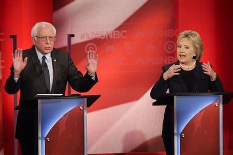 Democratic presidential candidate, Sen. Bernie Sanders, I-Vt, and Democratic presidential candidate, Hillary Clinton spar during a Democratic presidential primary debate hosted by MSNBC at the University of New Hampshire. (AP)