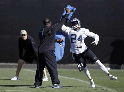 Carolina Panthers cornerback Josh Norman (24) participates in a drill during practice in preparation for the Super Bowl 50 football game Thursday Feb. 4, 2016 in San Jose, Calif. (AP Photo/Marcio Jose Sanchez)