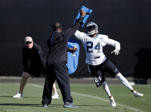Carolina Panthers cornerback Josh Norman (24) participates in a drill during practice in preparation for the Super Bowl 50 football game Thursday Feb. 4, 2016 in San Jose, Calif. (AP Photo/Marcio Jose Sanchez)