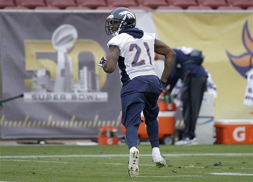 Denver Broncos cornerback Aqib Talib (21) runs during an NFL football practice in Stanford, Calif., Wednesday, Feb. 3, 2016. (AP Photo/Jeff Chiu)