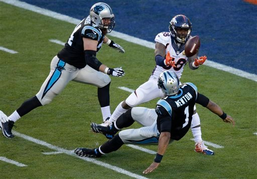 Denver Broncos' Von Miller (58) strips the ball from Carolina Panthers' Cam Newton (1) during the first half of the NFL Super Bowl 50 football game Sunday, Feb. 7, 2016, in Santa Clara, Calif. (AP Photo/Charlie Riedel)