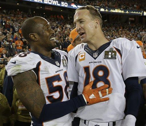 Denver Broncos' Von Miller (58) and Peyton Manning (18) celebrate after the NFL Super Bowl 50 football game Sunday, Feb. 7, 2016, in Santa Clara, Calif.