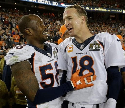 Denver Broncos' Von Miller (58) and Peyton Manning (18) celebrate after the NFL Super Bowl 50 football game Sunday, Feb. 7, 2016, in Santa Clara, Calif.