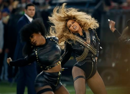 In this Sunday, Feb. 7, 2016 file photo, Beyonce performs during halftime of the NFL Super Bowl 50 football game in Santa Clara, Calif.