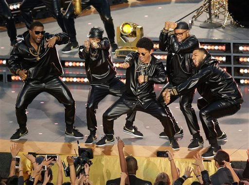 Bruno Mars performs during halftime of the NFL Super Bowl 50 football game Sunday, Feb. 7, 2016, in Santa Clara, Calif.