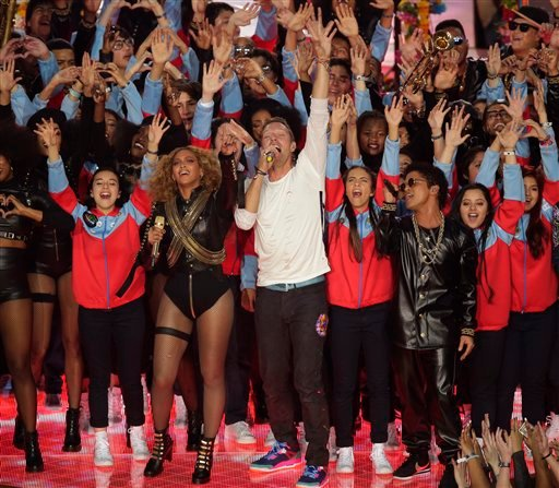 Beyoncé, Coldplay singer Chris Martin, and Bruno Mars perform during halftime of the NFL Super Bowl 50 football game Sunday, Feb. 7, 2016, in Santa Clara, Calif.
