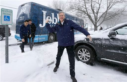 Republican presidential candidate, former Florida Gov. Jeb Bush throws a snowball following a campaign event, Monday, Feb. 8, 2016, in Nashua, N.H. (AP Photo/Steven Senne)