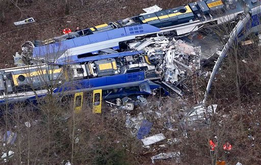 Aerial view of rescue teams at the site where two trains collided head-on near Bad Aibling, Germany, Tuesday, Feb. 9, 2016.