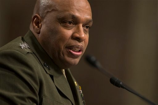 Defense Intelligence Agency Director Lt. Gen. Vincent Stewart testifies on Capitol Hill in Washington, Tuesday, Feb. 9, 2016, before a Senate Armed Services Committee hearing on worldwide threats. (AP Photo/Evan Vucci)