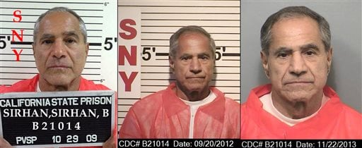 These composite photos provided by the California Department of Corrections and Rehabilitation show Sirhan Sirhan from left, in Oct. 29, 2009, Sept. 20, 2012, and Nov. 22, 2013.