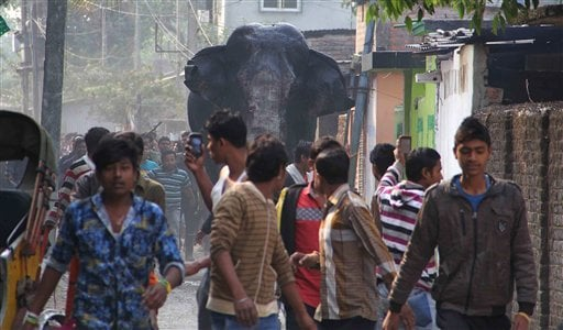 A wild elephant that strayed into the town moves through the streets as people follow at Siliguri in West Bengal state, India, Wednesday, Feb. 10, 2016.