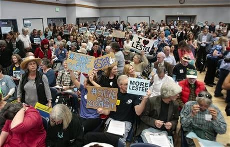 A vote on the dismissal of California Coastal Commission Executive Director Charles Lester is the first item on the agenda. (David Middlecamp/The Tribune (of San Luis Obispo) via AP)