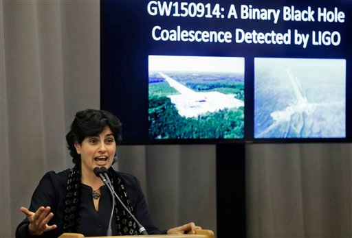 Massachusetts Institute of Technology astrophysics professor Nergis Mavalvala, speaks,Thursday, Feb. 11, 2016, about an experiment at the Laser Interferometer Gravitational-Wave Observatory, or LIGO, that has resulted in the discovery of gravitational wav
