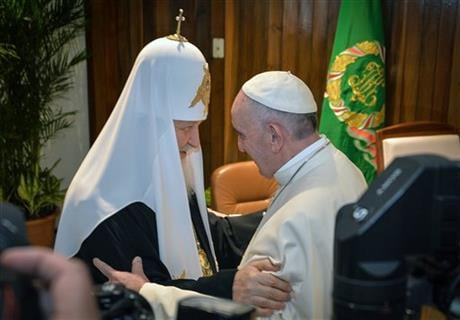 The head of the Russian Orthodox Church Patriarch Kirill, left, and Pope Francis greet each other as as they meet at the Jose Marti airport in Havana, Cuba, Friday, Feb. 12, 2016. AP
