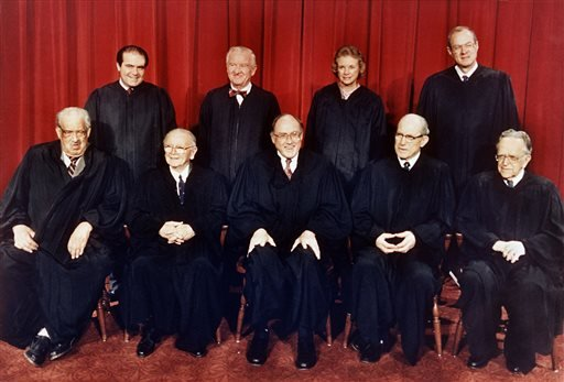 FILE - In this April 15, 1988 file photo, members of the U.S. Supreme Court pose for a formal portrait in Washington.
