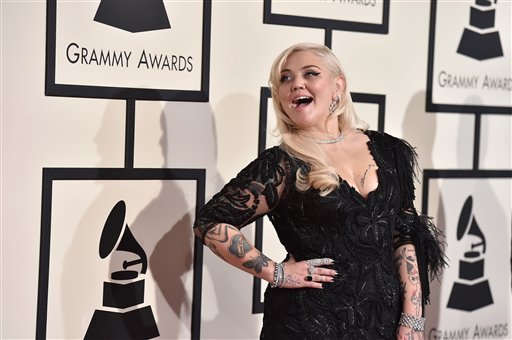 Elle King arrives at the 58th annual Grammy Awards at the Staples Center on Monday, Feb. 15, 2016, in Los Angeles. (Photo by Jordan Strauss/Invision/AP)