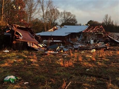 Officials are investigating reports of at least two possible tornadoes that accompanied a line of thunderstorms across central and southern Mississippi on Monday. (Ryan Moore/WDAM-TV, via AP)