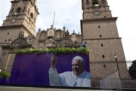 On his one-day trip to the capital Morelia, Francis will meet with youth and celebrate Mass with priests and seminarians, and religious men and women. (AP Photo/Rebecca Blackwell)
