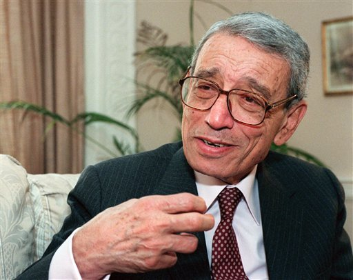 FILE - In this May 27, 1997 file photo, former United Nations Secretary-General Boutros Boutros-Ghali gestures during an interview with the Associated Press on Wednesday, May 21, 1997 in New York.
