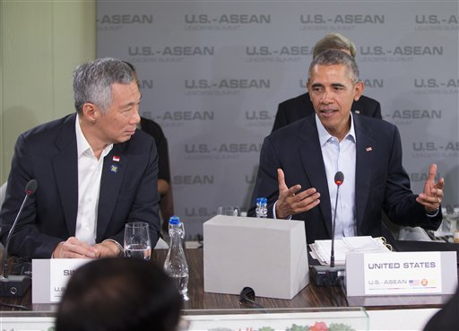 Singapore Prime Minister Lee Hsien Loong listens as left as President Barack Obama speaks at the second plenary session meeting of ASEAN, the 10-nation Association of Southeast Asian Nations, Tuesday, Feb. 16, 2016, at the Annenberg Retreat at Sunnylands