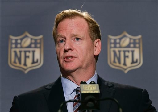 In this Oct. 7, 2015, file photo, NFL Commissioner Roger Goodell speaks during a news conference at the conclusion of the league's fall meetings, in New York.