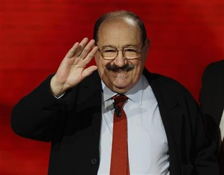 "Italian writer, medievalist, semiotician, philosopher, literary critic and novelists Umberto Eco waves to public during the Italian State RAI TV program in Milan, Italy. Eco, best known for the international best-seller ""The Name of the Rose,"" died Friday"