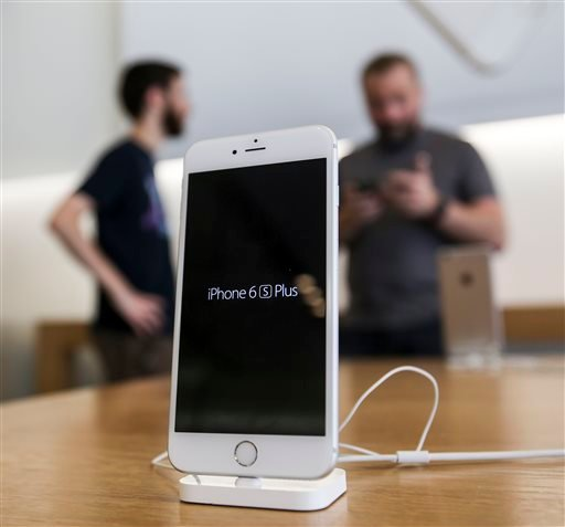 An Apple iPhone 6s Plus smartphone is displayed Friday, Sept. 25, 2015 at the Apple store at The Grove in Los Angeles. On Wednesday, Feb. 17, 2016, a federal judge ordered Apple Inc. to help the FBI hack into an encrypted iPhone used by Syed Farook, who a