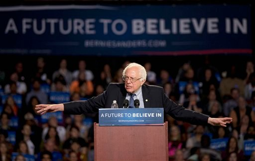 Feb. 21, 2016, file photo, Democratic presidential candidate, Sen. Bernie Sanders, I-Vt. speaks during a rally in Greenville, S.C. (AP Photo/John Bazemore, File)