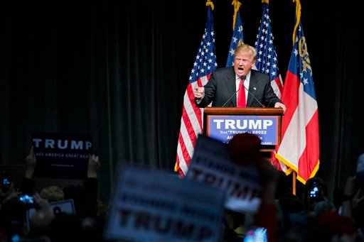 Feb. 21, 2016 file photo, Republican presidential candidate Donald Trump speaks at a campaign event in Atlanta. (AP Photo/David Goldman, File)