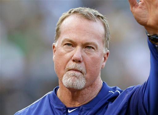 In this Aug. 18, 2015, file photo, then-Los Angeles Dodgers hitting coach Mark McGwire is shown prior to a baseball game against the Oakland Athletics, in Oakland, Calif.