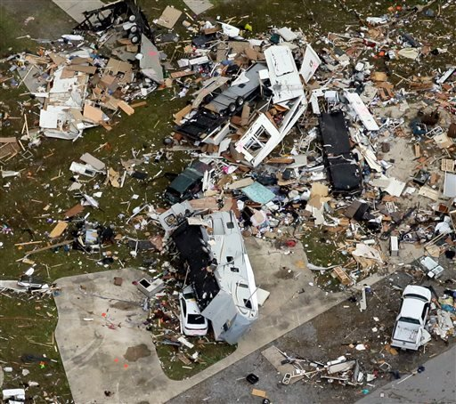 This aerial photo shows damage after a tornado ripped through the Sugar Hill Recreational Park in the town of Convent, in southern La., Wednesday, Feb. 24, 2016. Tornadoes ripped through the RV park in Louisiana and significantly damaged nearly 100 homes