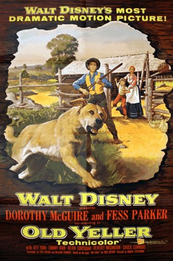 "This undated photo provided by the American Humane Association, AHA, shows a movie poster advertising the film ""Old Yeller."""