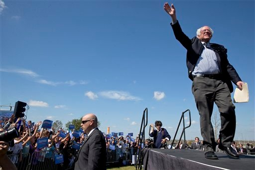 Democratic presidential candidate Sen. Bernie Sanders, I-Vt., waves as he arrives to a campaign rally at the Circuit of the Americas in Austin, Texas, Saturday, Feb. 27, 2016.