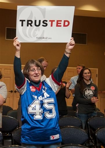 Gail DeLong of Mineola holds up a Ted Cruz sign during a campaign stop by Heidi Cruz at the University of Texas at Tyler Ornelas Activity Center Saturday, Feb. 27, 2016 in Tyler, Texas. Heidi Cruz campaigned for her husband Republican presidential hopeful