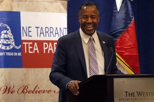 Republican presidential candidate Ben Carson speaks at a town hall meeting hosted by the NE Tarrant Tea Party at the Westin Dallas Fort Worth Airport hotel in Irving, Texas on Feb. 27, 2016. (Rose Baca/The Dallas Morning News via AP)