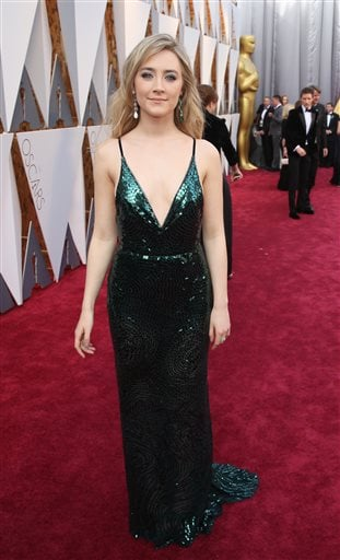 Saoirse Ronan arrives at the Oscars on Sunday, Feb. 28, 2016, at the Dolby Theatre in Los Angeles. (Photo by Matt Sayles/Invision/AP)