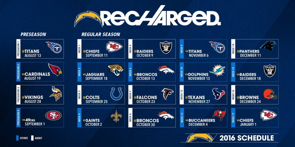 Chargers Announce 2016 Schedule Cbs News 8 San Diego