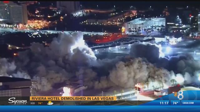 Auto World Las Vegas >> Riviera Hotel demolished in Las Vegas - CBS News 8 - San Diego, CA News Station - KFMB Channel 8