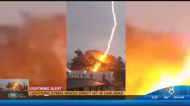 Lightning Strike Makes Direct Hit In Carlsbad Cbs News 8