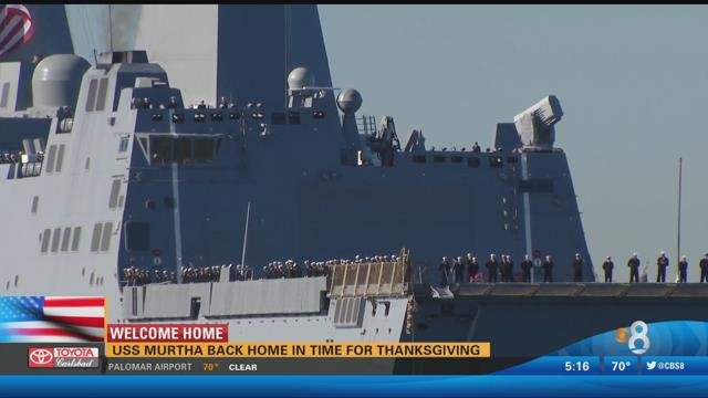 uss murtha returns to san diego in time for thanksgiving cbs news 8 san diego ca news. Black Bedroom Furniture Sets. Home Design Ideas