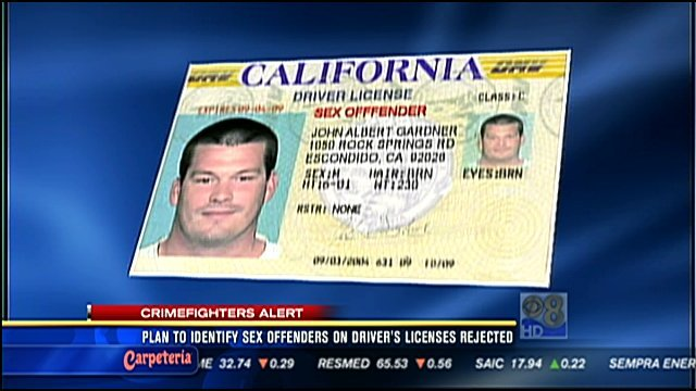 sex offender designation on driver license