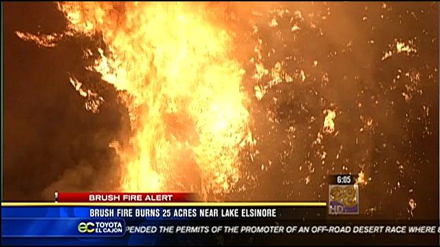 Brush Fire Burns 25 Acres Near Lake Elsinore Cbs News 8 San Diego Ca News Station Kfmb
